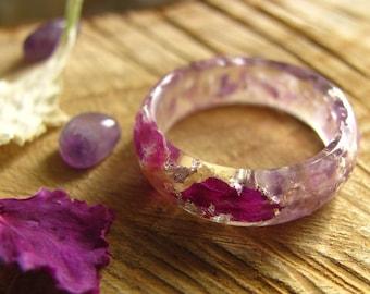 Amethyst Ring, Gemstone Ring, Resin Crystal Ring, Purple Flower Resin Ring, Healing Stone, Chakra Ring, Engagement Nature Ring, Mineral Ring