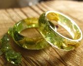 Peridot Ring, Green Resin Ring, Raw Stone Ring, Botanical Ring, Promise Ring, Birthstone Crystal Ring, Elf Forest Ring, Terrarium Jewelry