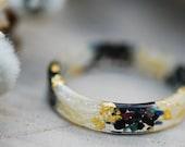 Black Fire Opal Ring, Black Tourmaline Band, Men Rings, October Birthstone Jewelry, White Flower Ring, Stone, Resin Ring, Gift for Him