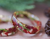 Christmas Resin Ring, Holiday Rings, Red roses and Pine Ring, Christmas Gold Ring, Christmas Jewelry