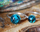 Sea Silver Ring, Ocean Resin Ring, Mermaid Jewelry, Silver Stacking Rings, Blue Sea Ring, Hammered Ring