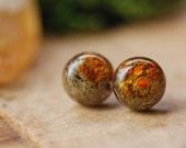 Forest Moss Earrings, Terrarium Earrings, Lichen Stud Earrings, Nature Lover Gift, Rustic Post Earrings, Resin Earrings, Woodland Jewelry