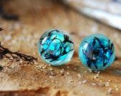 Mermaid Earrings, Real Seaweed Earrings, Ocean Stud Earrings, Unique Blue Sea Earrings, Resin Iridescent Earrings, Silver Stud Earrings
