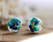 Gemstone Earrings, Turquoise Stud Earrings, Resin Lapis Lazuli Earrings, Bridesmaid Gift, December Birthstone Jewelry, Handmade Gift for Her
