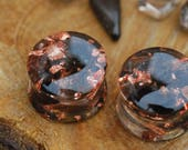 Smoky Quartz Gauges Brown Orgon Plugs Copper Ear Gauges Dark Gemstone Ear Plugs Resin Tunnels Crystal Healing Stretchers Quartz Piercing