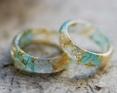 Aquamarine Ring, March Birthstone Ring, Blue Crystal Ring, Rough Gemstone Ring, White Flower Resin Ring, Boho Style, Aquamarine Jewelry