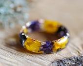 Rings for Women Purple Flower Ring Nature Ring Pressed Flower Ring Yellow SunFlower Resin Ring Terrarium Ring Bohemian Ring Christmas Gift