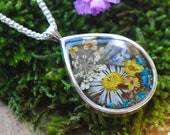 Flower Necklace Silver Pendant Real Pressed Flower Jewelry Resin Floral Necklace Sterling Silver Bohemian Pendant Romantic Gift for Mom
