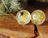 Peridot Stud Earrings Gemstone Earrings August Birthstone Earrings Shiny Stone Tiny Studs Silver Green Resin Earrings Peridot Gift for Her