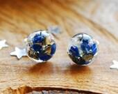 Galaxy Earrings, Celestial Crystal Studs, Galactic Resin Earrings, Star Sky Jewelry, Lapis Lazuli Stone Earrings, Celestial Jewelry Gift