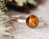 Silver Moss Ring, Lichen Nature Ring, Terrarium Sterling Silver Ring, Forest Ring, Botanical Jewelry, Rustic Resin Ring, Magic Jewelry
