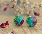 Turquoise Earrings, Resin Stud Earrings, Moss Terrarium Earrings, Tiny Gemstone Earrings, December Birthstone Earrings, Turquoise Jewelry
