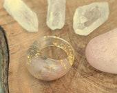 Rose Quartz Ring Statement Stone Ring Crystal Resin Ring Blush Gemstone Ring Gold 24K Grey Moonstone Ring Bohemian Ring June Birthstone Ring