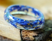 Pressed Flower Ring, Nature Resin Ring, Blue Flower Ring, Bohemian Ring, Floral Promise Ring, Womens Gift, Chic Ring, Best Friend Gift