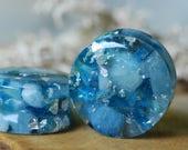 Stone Plugs, Blue Gauges, Gemstone Plugs, Crystal Resin Plugs, Nature Gauges, Girly Plugs, Cute Plugs, Ear Plugs, Bridal Wedding Plugs