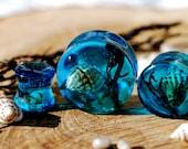 Blue Ocean Resin Plugs, Seashell Seaweed Nautical Gauges, Underwater Dive Piercing, Summer Beach Jewelry, Mermaid Organic Body Jewelry