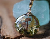 Real Mushroom Necklace, Fairy Resin Pendant, Forest Nature Necklace, Botanical Terrarium Jewelry, Magic Necklace, Rustic Wonderland Gift
