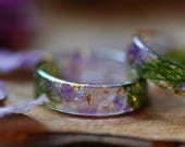 Rough Amethyst Ring, Gemstone Ring, Moss Resin Ring, Purple Ring, Gold Botanical Ring, Magic Ring, Crystal Amethyst February Birthstone Ring