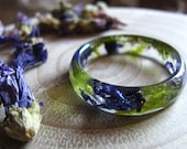 Nature Ring, Flower Ring, Terrarium Ring, Floral Resin Ring, Botanical Jewelry, Purple Ring Pressed Flower Jewelry Gardening Gift for Women