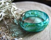 Ocean Resin ring, Mermaid Ring, Summer Sea Ring, Blue Teal Ring, Blue Resin Ring, Thin Stacking Ring, Beachy Jewelry, Beach Ring