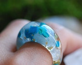 Aquamarine Ring Statement Gemstone Ring Blue Crystal Resin Ring Chrysocolla Stone Boho Ring March Birthstone Jewelry Women Gift for Her