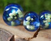White Flower Gauges, Blue Resin Ear Plugs, Lapis Lazuli Ear Gauges, Galaxy Iridiscent Ear Plugs, Gemstone Plugs, Botanical Ear Plugs
