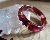 Carnation Flower Resin Ring, Nature Flower Ring, Burgundy Ring, Promise Ring, Bridesmaid gift, Nature engagement ring, Romantic Ring