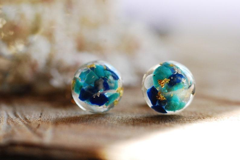 51da50954 Gemstone Earrings Turquoise Stud Earrings Lapis Lazuli Resin | Etsy
