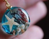 Ocean Resin Necklace, Blue Sea Necklace, Mermaid Pendant, Nautical Jewelry, Underwater Necklace, Starfish Necklace, Seaweed Nature Pendant