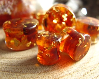 Baltic Amber Gauges, 24k Gold Plugs, Raw Amber Plugs, Gold Piercing, Crystal Tunnels, Gemstone Plugs, Warm Healing Energy, Double Flare