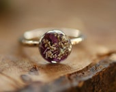 Purple Flower Ring, Sterling Silver Ring, Pressed Flower Ring, Floral Resin Ring, Bohemian Gift, Silver Rings, Nature Lover Gift