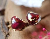 Heart Rose Earrings, Red Rose Stud Earrings, Nature Lover Gift, Romantic Jewelry, Pressed Flower, Resin Earrings, Valentine's Gift for Her