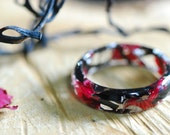 Black and Red Ring, Mermaid Resin Ring, Nature Flower, Sea Ring, Real Seaweed Ring, Wedding Unusual Ring, Unique Engagement Ring