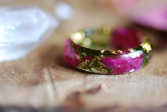 Hochzeit Blume Ring Natur Ringe Rosa Blumen Ring Terrarium Etsy