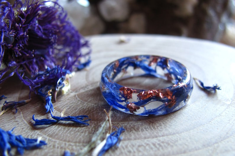 Blue Flower Ring Nature Rings Resin Ring Copper Flakes Ring Nature engagement ring Fairy Ring Bohemian Ring Flower Jewelry Gift for Sister