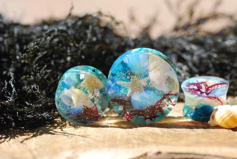 Ear Plugs Ocean Plugs Turquoise Gemstone Gauges Opalite Ear Gauges Seashell Ear Plugs Sea Plugs Mermaid Gauges Iridiscent Plugs Stretchers