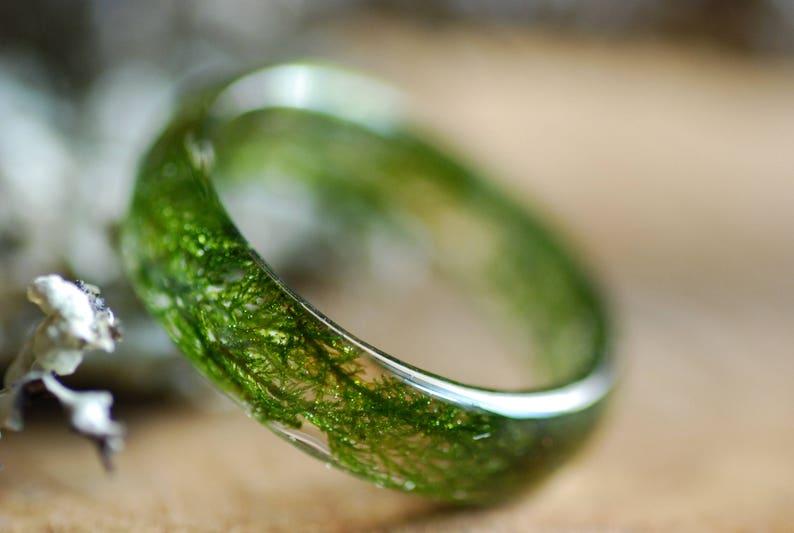 Real Moss Ring Nature Ring Resin green moss ring Terrarium image 1