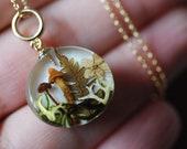 Real Mushroom Necklace, Fairy Pendant, Forest Nature Necklace, Botanical Terrarium Jewelry, Magic Mushrooms Necklace, Rustic Wonderland Gift