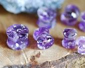 Purple Amethyst Plugs, Silver Gauges, Crystal Plugs, Positive Energy of Amethyst Piercing, Orgon Jewelry, Raw Crystal Stretchers Tunnels