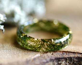 Real Moss Ring, Nature Ring, Gold Moss Ring, Green Resin Ring, Terrarium Ring, Fairy Ring, Botanical Ring, Forest Jewelry, Botanical Gift