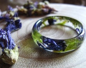 Nature Ring, Flower Ring, Terrarium Ring, Floral Resin Ring, Botanical Jewelry, Purple Ring Pressed Flower Jewelry Gardening Gift for Women