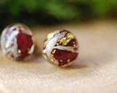Red Rose Earrings, Gold Plated Flower Earrings, Red Resin Studs, Pressed Flowers Earrings, Girl Gift, Rose Earrings, Romantic Gift