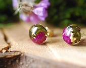 Sugilite Purple Earrings, Gold Studs, Moss Stud Earrings, Gemstone Resin Earrings, Crystal Terrarium Jewelry, Purple Gift, Christmas Gift