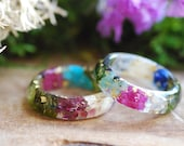 Family Birthstone Ring, Personalized Gift, Mothers Ring, Family Ring, Nature Jewelry, Botanical Resin Ring, Pressed Flower Ring, Family Gift