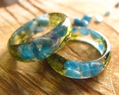 Blue Apatite ring with moss, Gemstone Ring, Stone Resin Ring, Forest Ring, Nature Ring, Mineral Ring, Forest Fairy Ring, Gift for Her