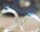 Raw Blue Diamond Ring, Crystal Resin ring, April Birthstone Ring, Rough Stone Ring, Women Wedding Gift, Engagement Ring, Boho Jewelry