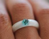Mermaid Ring, Ocean Resin ring, Nature Ring, Mermaid Jewelry, White and Blue Resin Ring, Stacking Ring, Black Algae Ring, Summer Ring