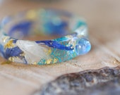 Moonstone Resin Ring, Blue Pressed Flower Ring, Celestial Ring, June Birthstone Ring, Rainbow Moonstone Jewelry, Bestfriend Gift, Boho Ring