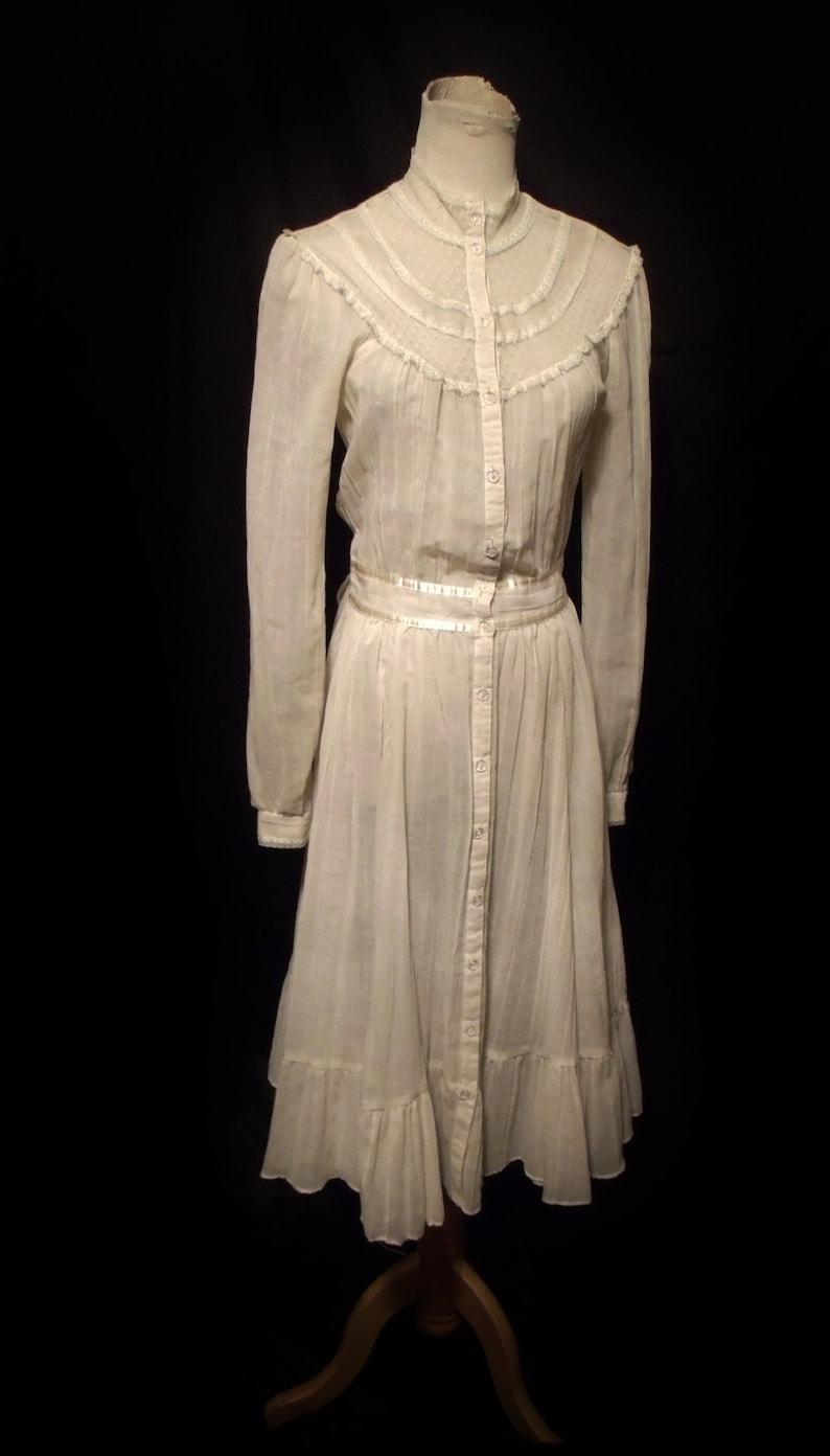 bb7f8bd1b1 Vtg 70s Gunne Sax Cotton Gauze Prairie Dress Sz M   Vintage