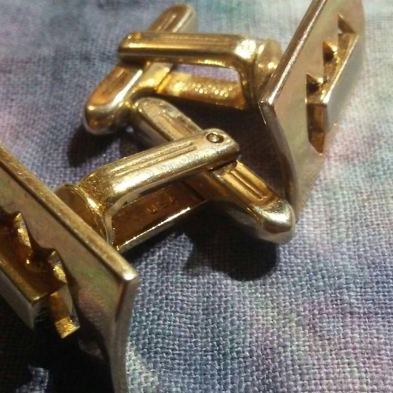 vintage 50s geometric silver /& gold tone Hickok cuff links  vtg 1950s two tone formal rectangular cufflinks cuff jewelry
